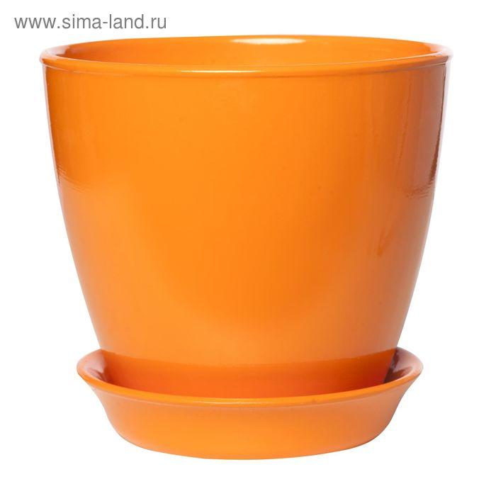 """Кашпо """"Виктория"""" глянец, оранжевое, 1 л"""