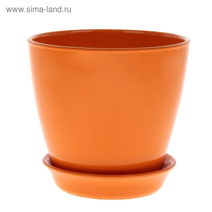 """Кашпо """"Виктория"""" глянец, оранжевое, 2 л"""