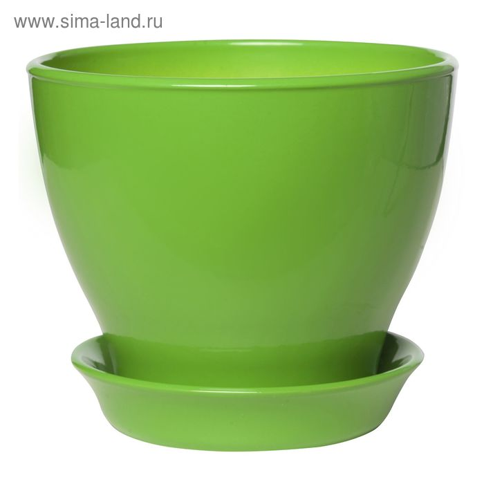 """Кашпо """"Ксения"""" глянец, зелёное, 3 л"""