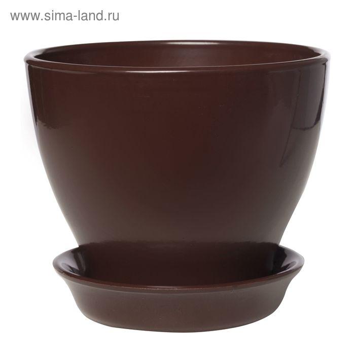 "Кашпо ""Ксения 6"" глянец, шоколад,11 л"