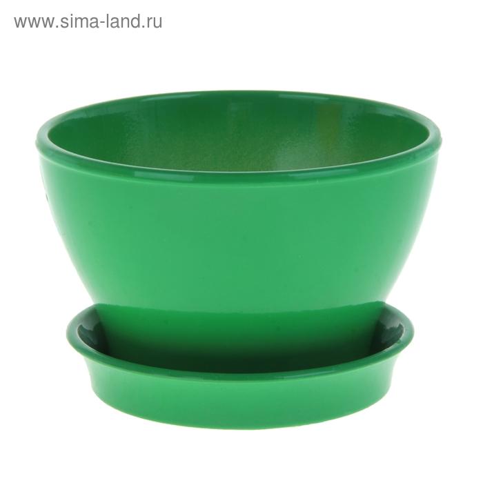 """Кашпо """"Ксения"""" фиалочница, глянец, зелёное, 0,5 л"""