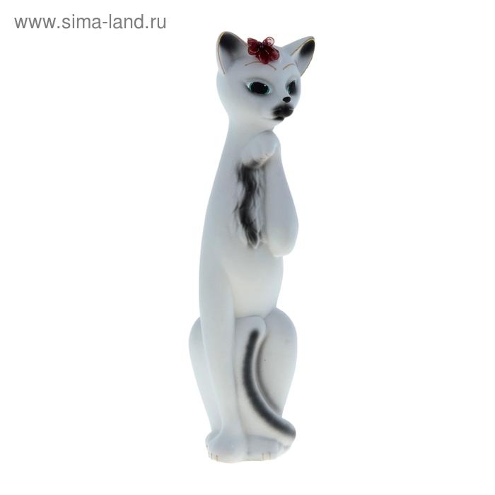 """Копилка """"Кошка Алиса"""" большая, флок, белая, чёрные полосы"""