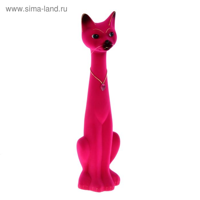 """Копилка """"Кот Мурзик"""" большая, флок, розовая"""