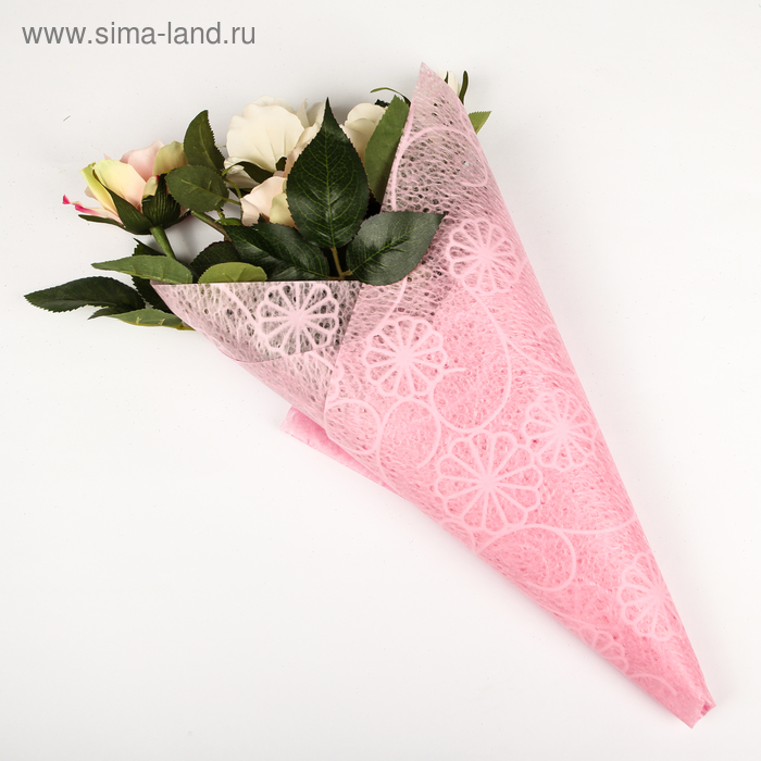 """Флизелин """"Ажурные цветы"""", цвет розовый"""