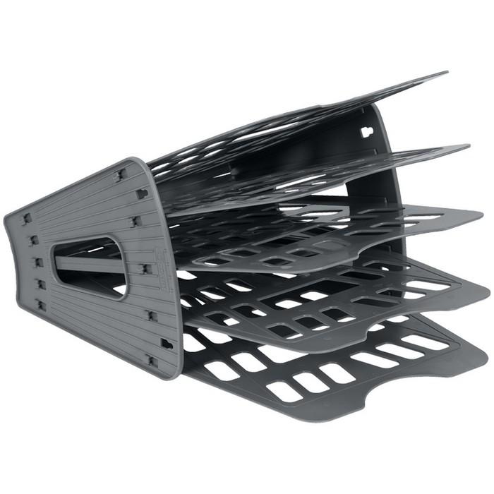 Лоток-веер для бумаг 5 секций, 4 отделения, серый