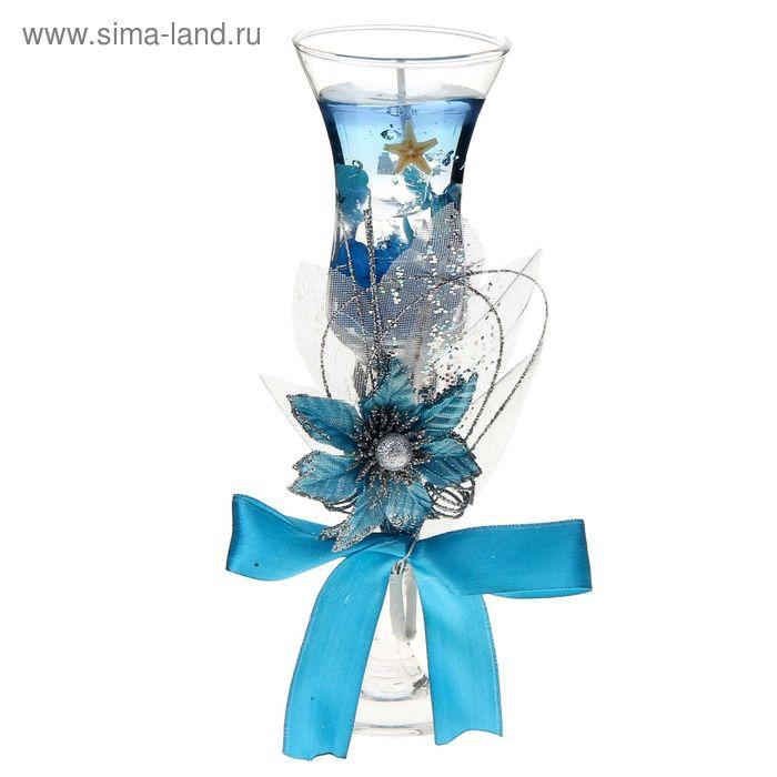 """Свеча гелевая """"Соцветие"""", цвет голубой"""