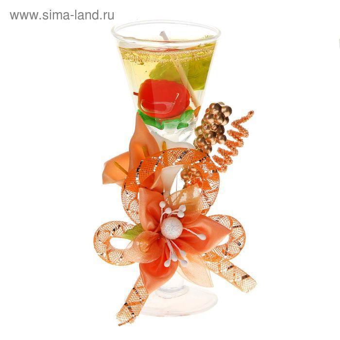 """Свеча гелевая """"Фруктовый коктейль"""", цвет персиковый"""