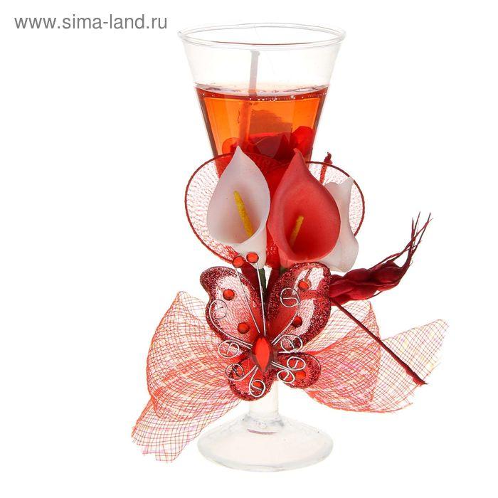"""Свеча гелевая """"Три каллы и бабочка"""", цвет красный"""