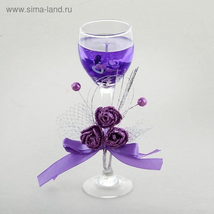 """Свеча гелевая световая """"Шикарные розы"""", цвет сиреневый"""