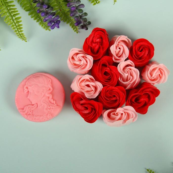 """Набор подарочный """"Камея"""": мыльные лепестки, мыло сувенирное 60 гр, аромат роза"""