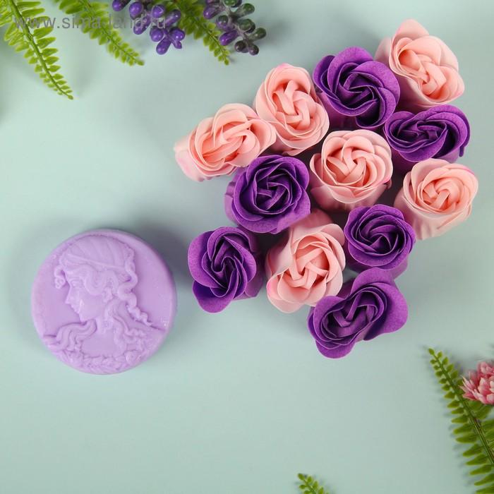 """Набор подарочный """"Камея"""": мыльные лепестки, мыло сувенирное 60 гр, аромат лаванда"""