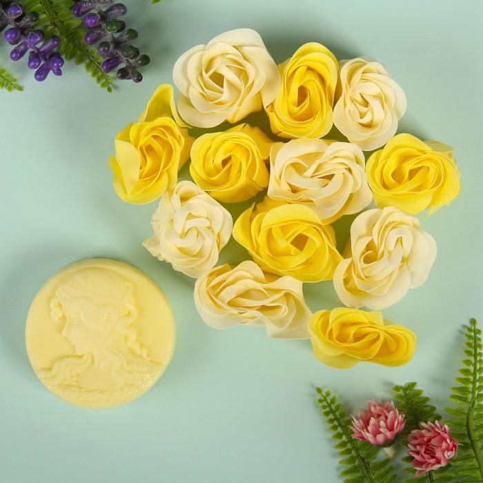 """Набор подарочный """"Камея"""": мыльные лепестки, мыло сувенирное 60 гр, аромат лимон"""