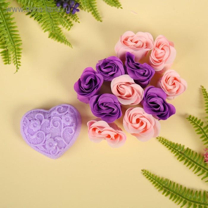 """Набор подарочный """"Ажур"""": мыльные лепестки (набор 12 шт), мыло сувенирное 60 гр, аромат лаванда"""