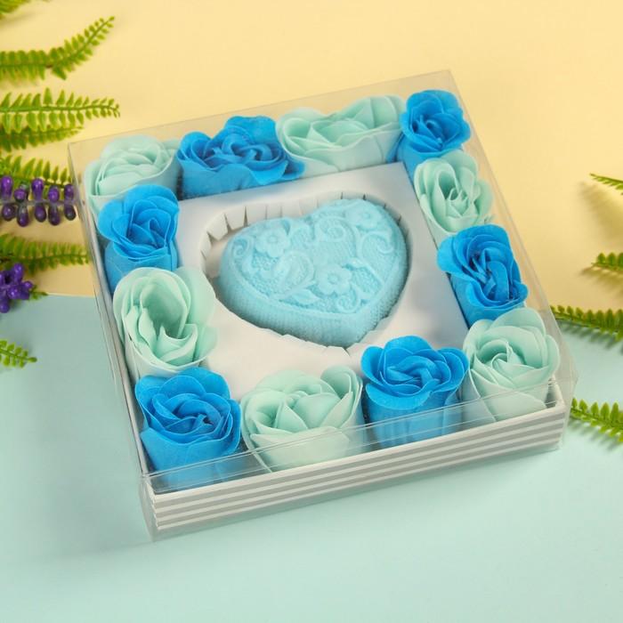 """Набор подарочный """"Ажур"""": мыльные лепестки (набор 12 шт), мыло сувенирное 60 гр, аромат океан"""