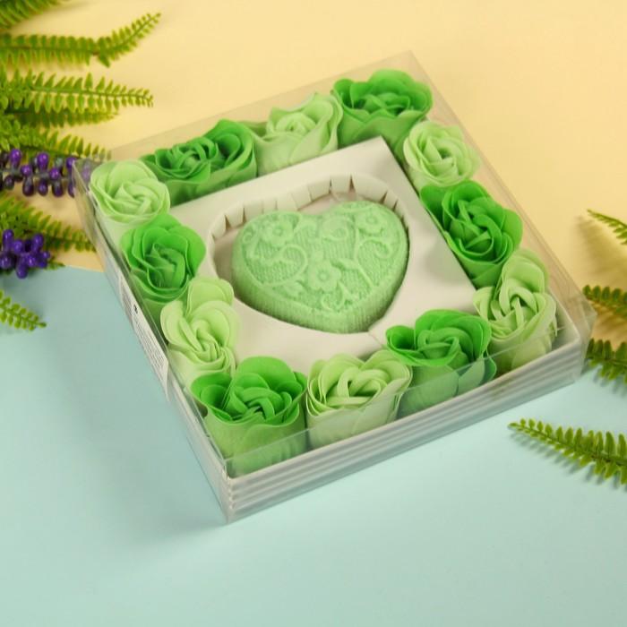 """Набор подарочный """"Ажур"""": мыльные лепестки (набор 12 шт), мыло сувенирное 60 гр, аромат алоэ"""