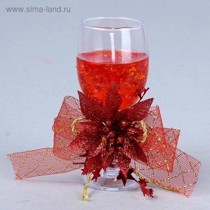 """Свеча гелевая """"Праздничный цветок"""", цвет красный"""