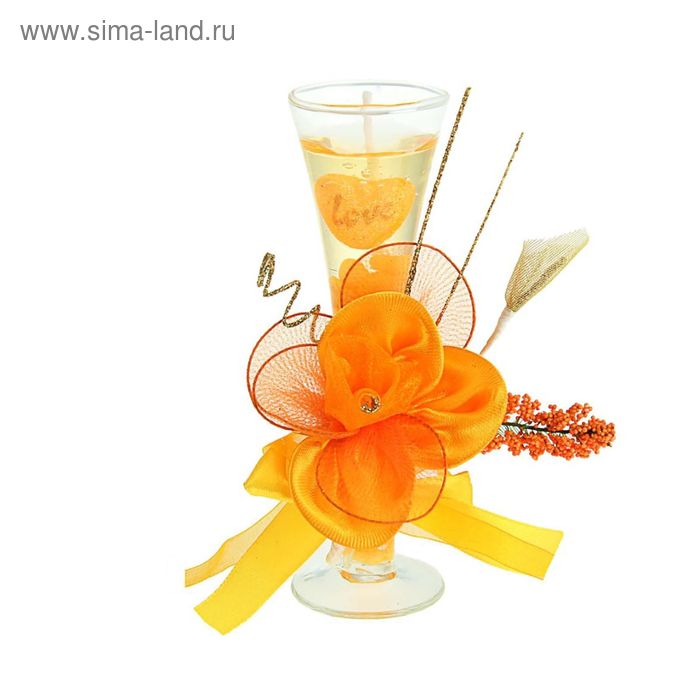 """Свеча гелевая """"Лепестки"""", цвет оранжевый"""