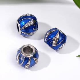 """Бусина """"Природное сияние"""", цвет сине-белый в серебре"""