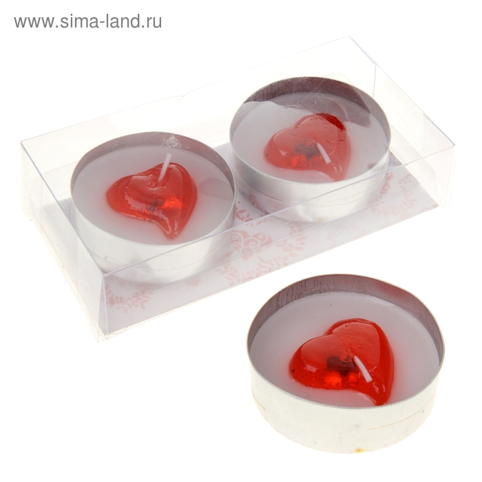 "Свеча восковая+гелевая (набор 2 шт) ""Сердце"", цвет красно-белый"