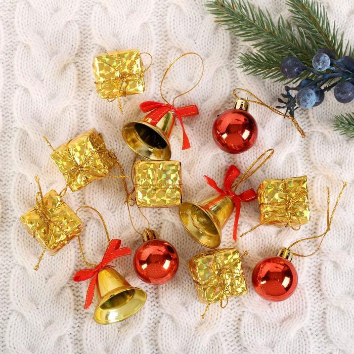 """Ёлочные игрушки """"Подарки и колокольчики"""" (набор 12 шт.)"""