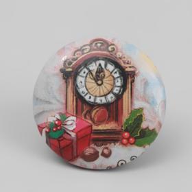 Игольница магнитная «Новогодние часы», d = 2,5 см, цвет разноцветный