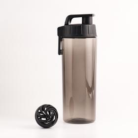 Шейкер-бутылка для воды 850 мл, с карабином и шариком, чёрная, 24х9 см