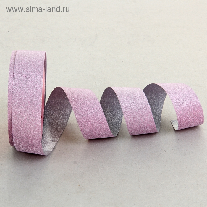 Лента упаковочная с алмазной крошкой, цвет розовый
