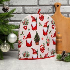 """Грелка на чайник Этель """"Santa Claus"""" 28х28см, 100%хл, репс 210 г/м2"""