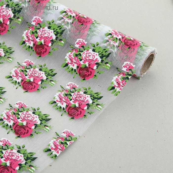 """Органза """"Букет роз"""", цвет белый"""