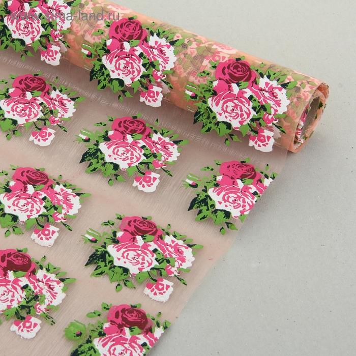 """Органза """"Букет роз"""", цвет персиковый"""