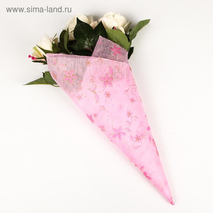 """Флизелин """"Цветочная полянка"""", цвет светло-розовый"""