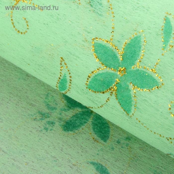 """Флизелин """"Цветочная полянка"""", цвет светло-зеленый"""