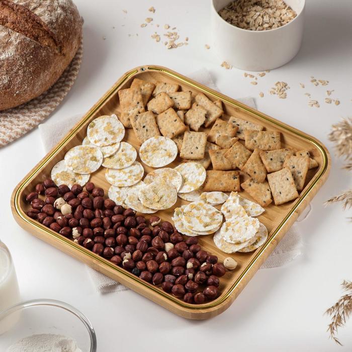 Блюдо для подачи Доляна «Цветение», 29,5×29,5 см, бамбук