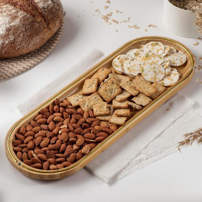Блюдо для подачи Доляна «Цветение», 45×16 см, бамбук
