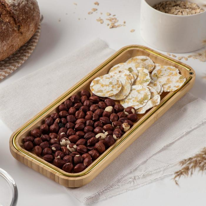 Блюдо для подачи Доляна «Цветение», 30×13 см, бамбук