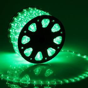 LED шнур 11 мм, круглый, 92 м, фиксинг, 2W-LED/м-24-220V, в компл. набор д/подкл, ЗЕЛЕНЫЙ