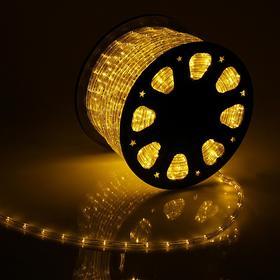 LED шнур 11 мм, круглый, 92 м, фиксинг, 2W-LED/м-24-220V, в компл. набор д/подкл, ЖЕЛТЫЙ