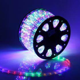 LED шнур 11 мм, круглый, 92 м, фиксинг, 2W-LED/м-24-220V, в компл. набор д/подкл, МУЛЬТИ