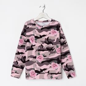 Свитшот для девочки, цвет милитари/рис. розы, рост 128 см