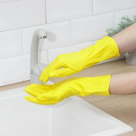 Перчатки латексные хозяйственные Komfi, размер L, цвет жёлтый