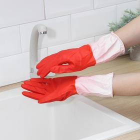 Перчатки латексные хозяйственные Komfi, сверхпрочные, размер L, цвет красный, белый