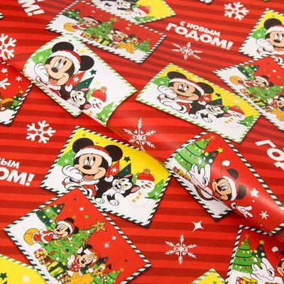 """Упаковочная бумага """"С Новым годом!"""", Микки Маус"""