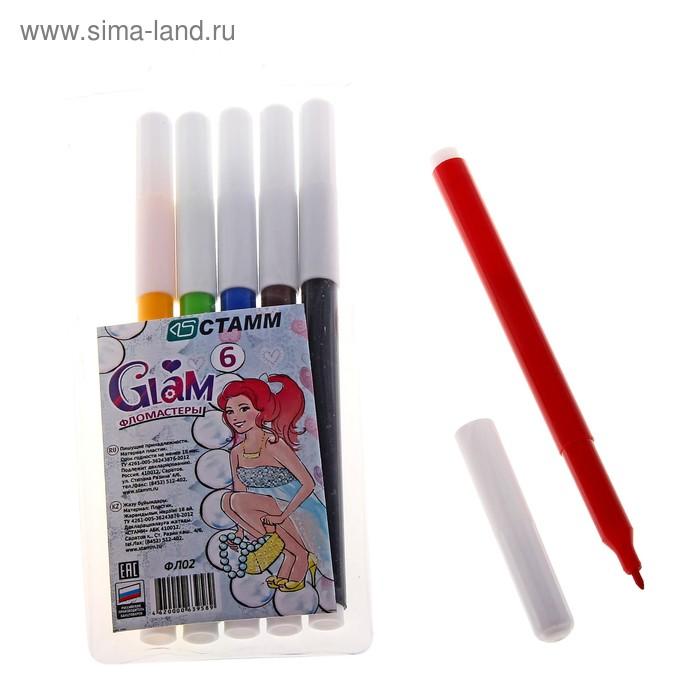 Фломастеры 6 цветов GLAM, вентилируемый колпачок, длина линии письма более 400 м, европодвес