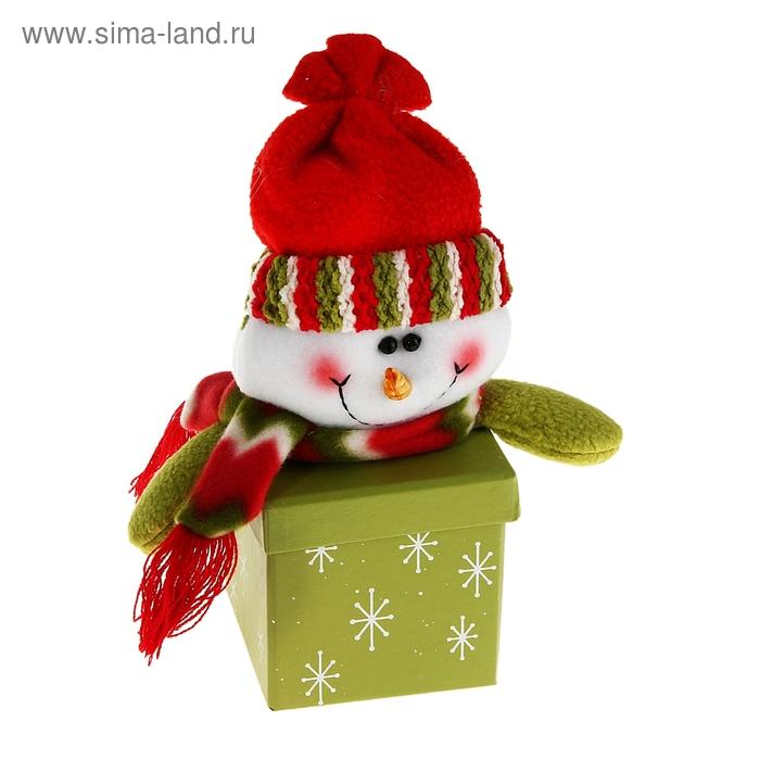 """Новогодняя подарочная коробка """"Блестящий снеговик"""" зелёная квадратная"""