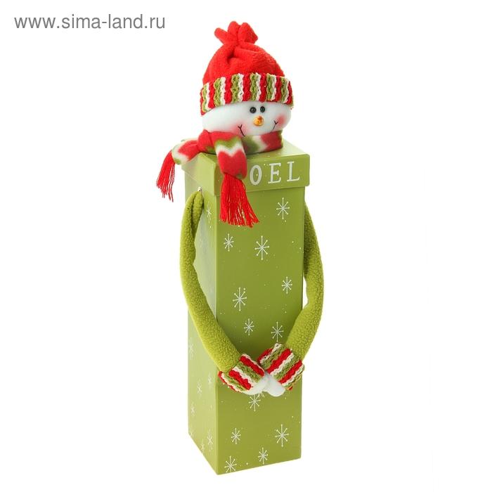 """Новогодняя подарочная коробка """"Снеговик"""" зелёная"""