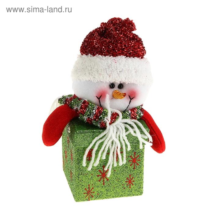 """Новогодняя подарочная коробка """"Блестящий снеговик"""" квадратная"""