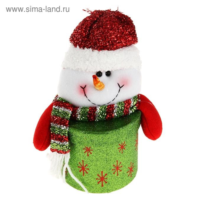 """Новогодняя подарочная коробка """"Блестящий снеговик"""" круглая зелёная"""