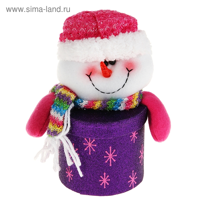 """Новогодняя подарочная коробка """"Блестящий снеговик"""" круглая фиолетовая"""