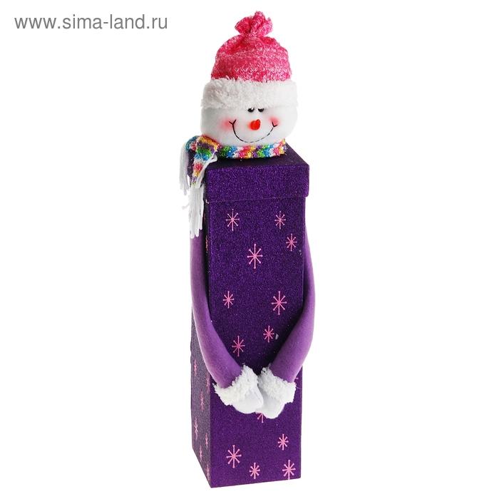 """Новогодняя подарочная коробка """"Снеговик"""" фиолетовая"""