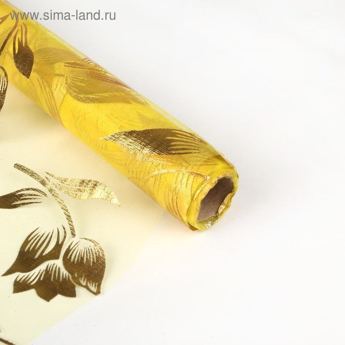 "Органза ""Золотые тюльпаны"", цвет желтый"